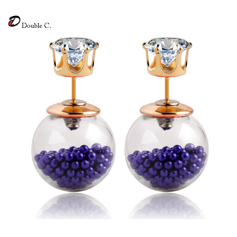 Fashion New Style Glass Stud Earrings Gold Crown Hourglass Stud Earrings Double Pearl Earrings Brincos Crystal pendientes E1513(China (Mainland))