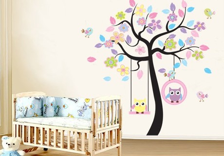 livraison gratuite mignon hibou de bande dessin e bless arbre stickers muraux enfants chambre. Black Bedroom Furniture Sets. Home Design Ideas