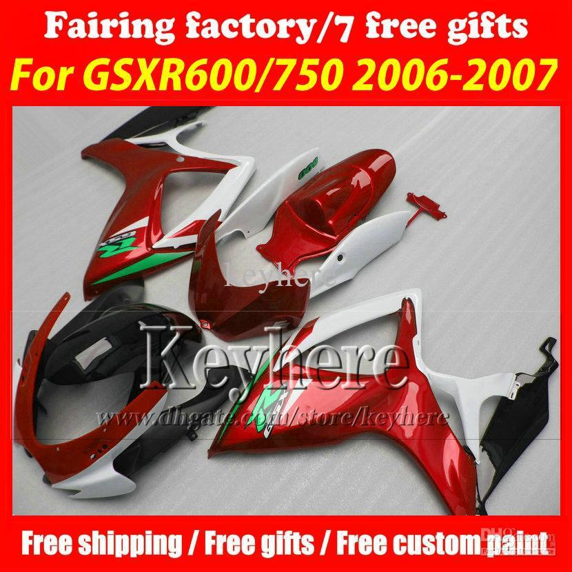 ! injection fairing kits for SUZUKI 06 07 GSXR 600 fairings GSXR 750 K6 2006 2007 fairings r4i hot sale red black motorc(China (Mainland))
