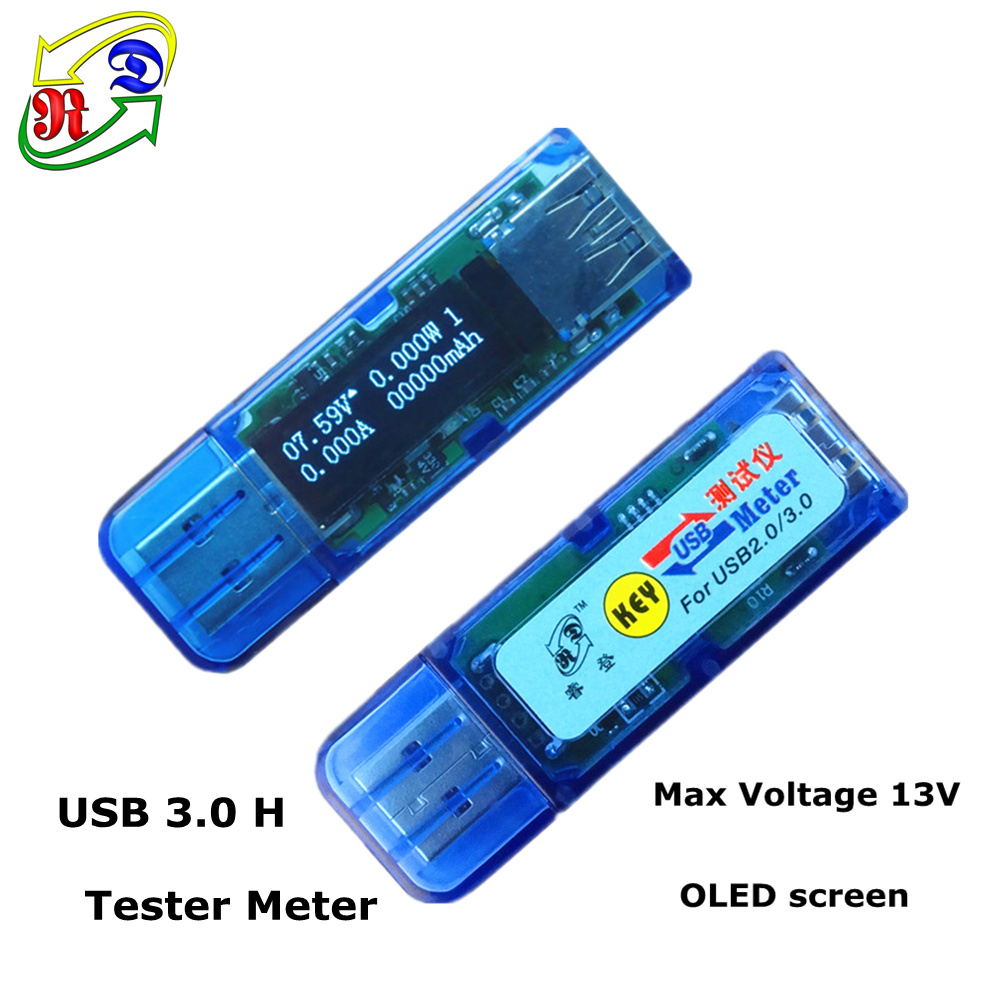 RD 10 pcs USB 3.0 High voltage white 4 bit OLED detector voltmeter ammeter capacity tester meter current power bank(China (Mainland))