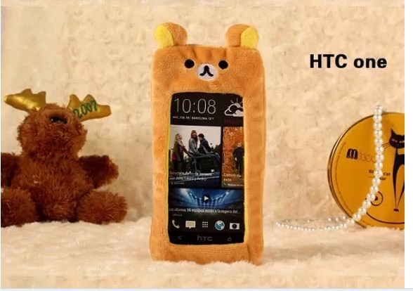 Fashion Popular Cute Artificial Fur Plush Mink Animals Soft Phone Case HTC One S X V Bear Cat Mouse Duck Lovely Capa - Live In Grace store