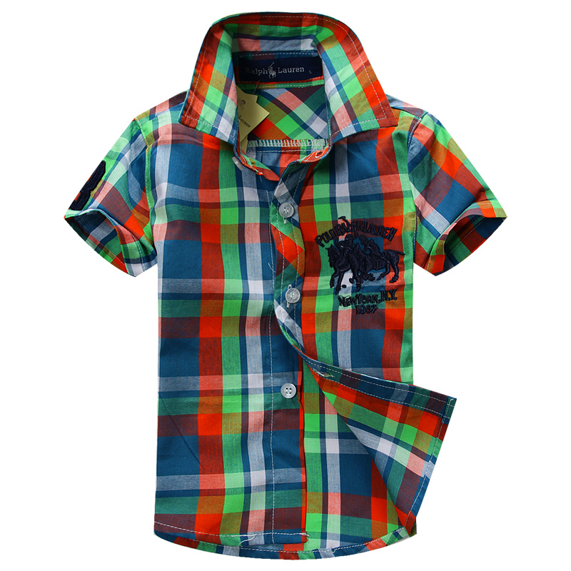 2015 New arrival baby boy short sleeve plaid shirt with cotton 100% fabric 1503<br><br>Aliexpress