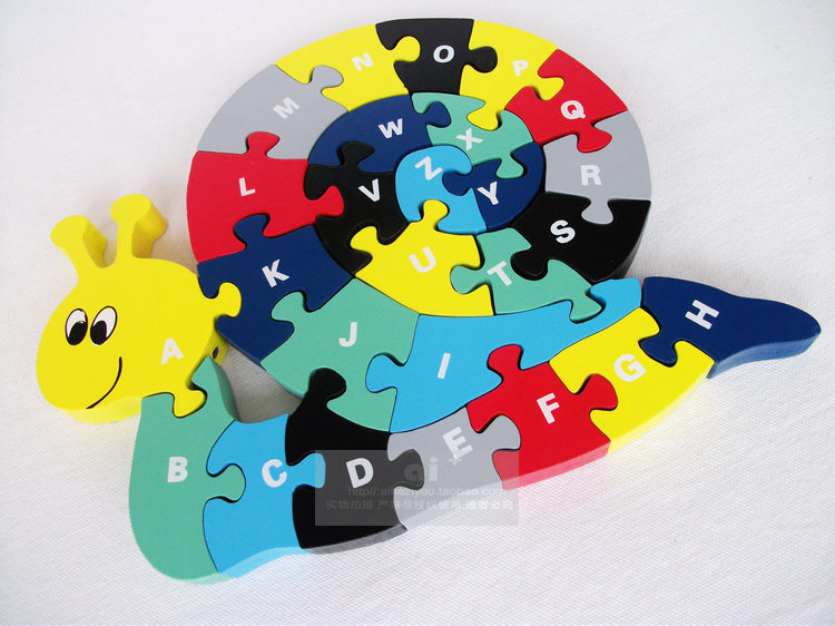 Children Educational Early Learning Wooden Snail Letter puzzle Large letter shape Good Quality(China (Mainland))