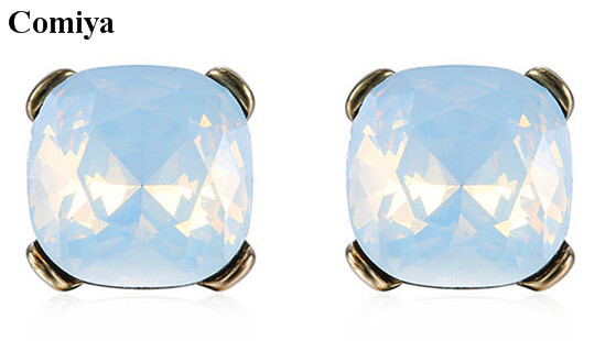 2015 Trendy stud earrings summer style gold earring for women fashion jewelr imitation diamond crystal opal multi color glass(China (Mainland))