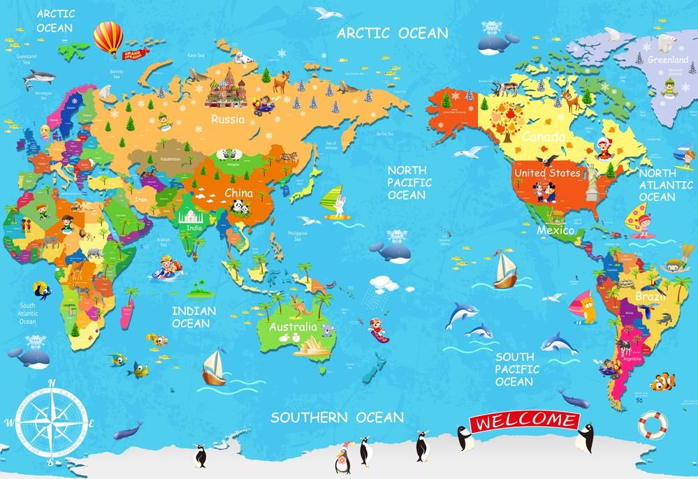 Mapa del mundo del ni o wallpaper al por mayor de alta - Papel pintado mapa del mundo ...