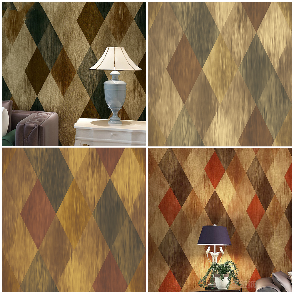 Haok home pvc vinyl vintage geometric diamond 3d wallpaper living ...