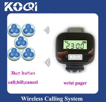 Hot sale Wireless service calling system <  5pcs 3-key (call;bill;cancel) call bell button and 1pcs wrist pager receiver >