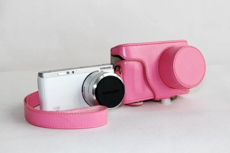 New Leather Camera Case Bag for Samsung NX-mini 9-27mm Lens with strap Fashion Pink color(China (Mainland))