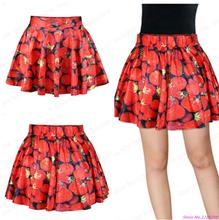 New Red Tennis Short Skirts High Waist Pettiskirt Nightclubs Dance Sport Kilts Fresh Strawberry Short Skirts Pleated Miniskirt