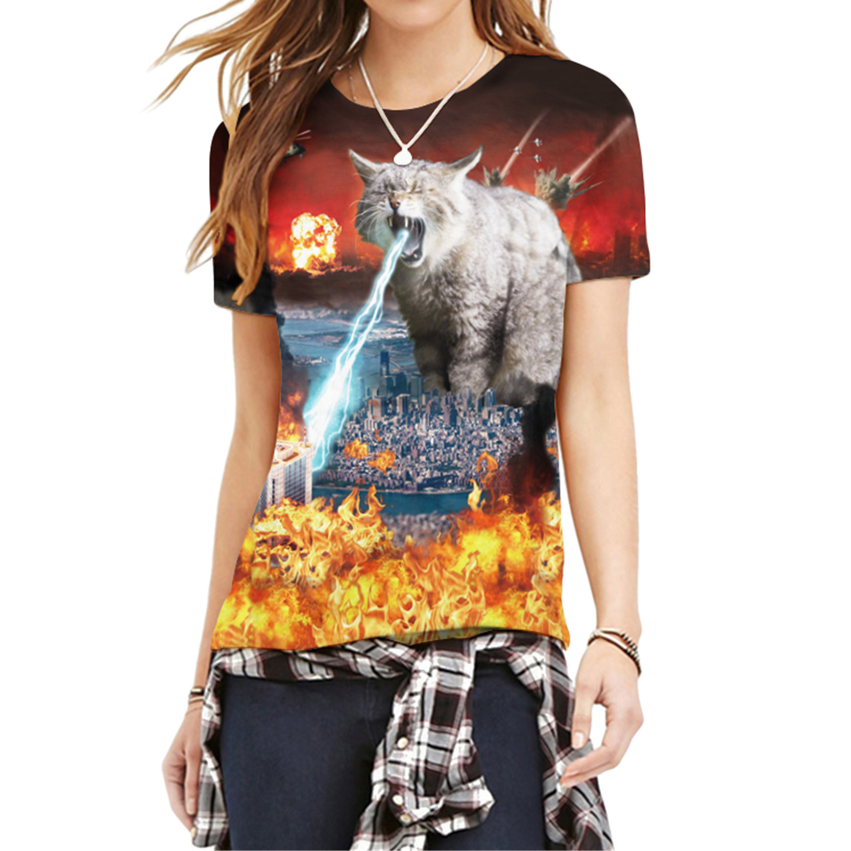 Funny Short Sleeve Attractive Design Style Wonderful Cartoon Wars 3D T-Shirts Interesting Animal Cat Printed Women T-Shirts(China (Mainland))