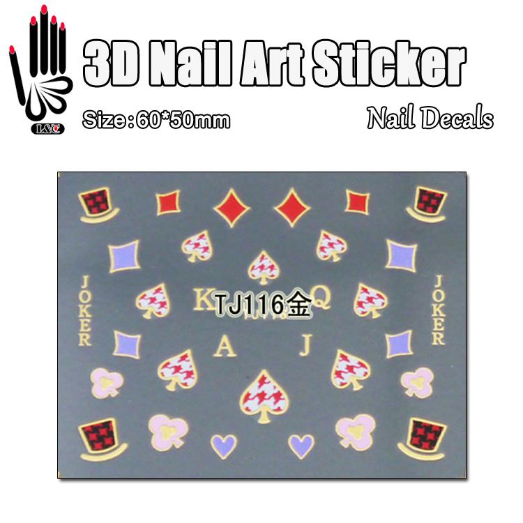 1 Sheet 3D Nail Art TJ116 Gold A J Q Poker 3D Nail Art Sticker Makeup Decal For Nail Sticker Art Decoration(China (Mainland))