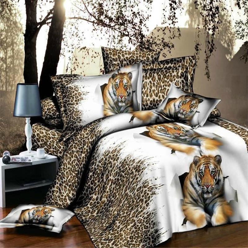 wholesale price leopard print tiger 3d bedding set 4pcs. Black Bedroom Furniture Sets. Home Design Ideas