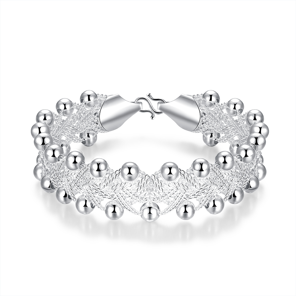 Sales Promotions! Hiphop Punk Style Bangles Bracelets Nice 925 Sterling Silver Rock Design Ball Beads Jewelry Top Quality(China (Mainland))