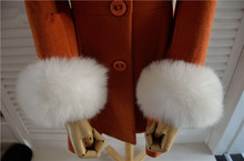 Real Genuine fox fur cuffs cuff arm warmers high quality(China (Mainland))