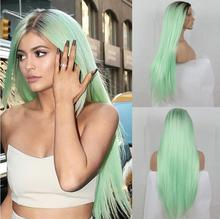 Fashion Ombre Mint Green Long Straight Synthetic Lace Front Wig Glueless TwoTone Green Heat Resistant Hair with dark roots