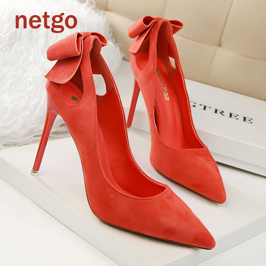 Red Heels With Bow On Back - Qu Heel