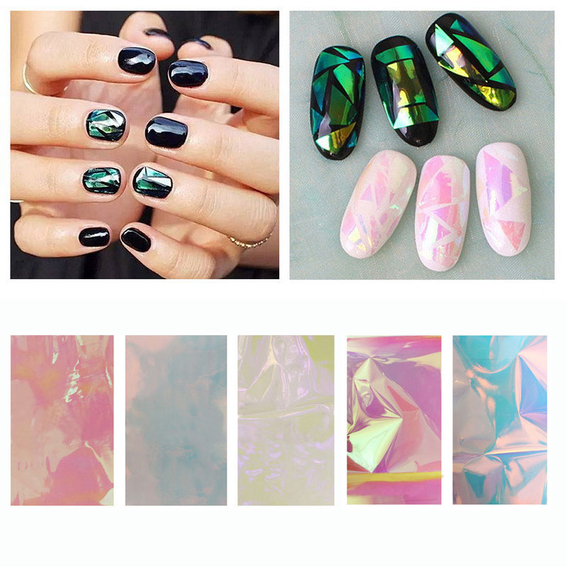 5pcs/lot Holographic Shiny Laser Nail Art Foils Paper Candy Colors Glitter Glass Nail Sticker Decorations(China (Mainland))