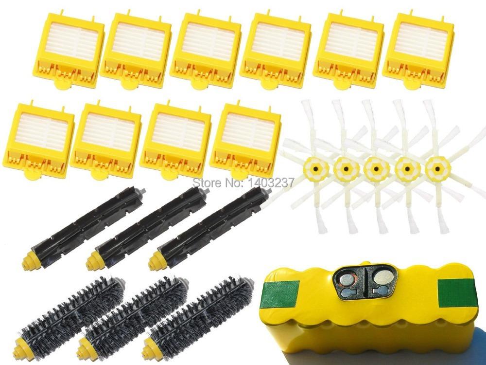 1 High Capacity Battery, 10 Filters, 5 6-Arm Side Brush, 3 Bristle Brush, 3 Flexible Beater Brush for iRobot Roomba 700 Series<br><br>Aliexpress