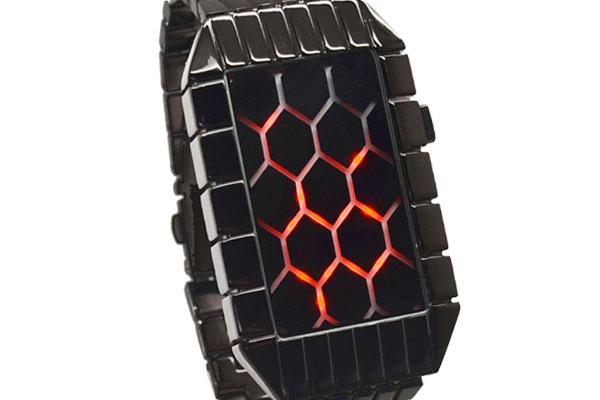 Hot sales men fashion Honeycomb design matrix dot red lights stainless steel black sports digital led watch(China (Mainland))