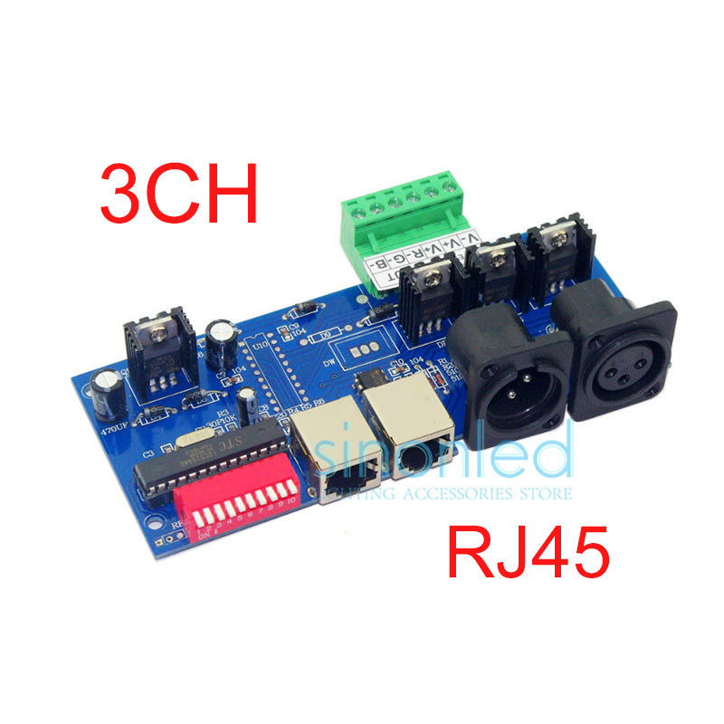 Wholesale Constant Current 3CH Channel DMX512 with RJ45 Easy DMX RGB LED Decoder,Controller,Dimmer,Drive(China (Mainland))