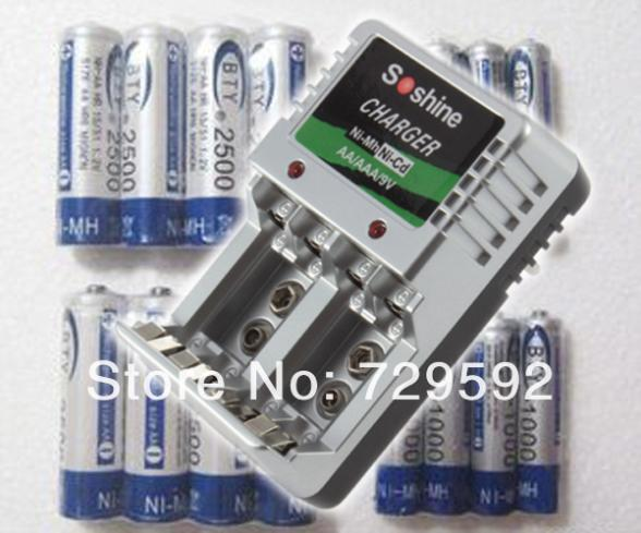 8* AA 2500mAh + 8* AAA 1000mAh NiMH Ni-MH Rechargeable Recharge Battery Betteries Pack +soshine Ni-MH charger(China (Mainland))