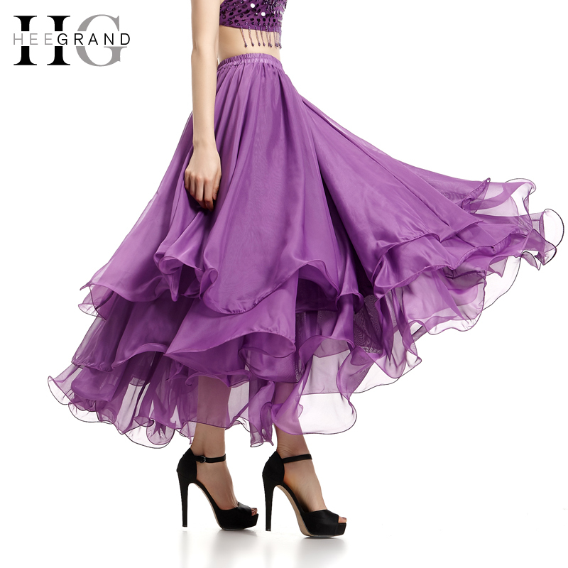 New Trendy England Style Summer Ruffles Skirts 2015 Fashion Ankle-Length Pleated Chiffon Long Skirt  Saia Loga WQC074Одежда и ак�е��уары<br><br><br>Aliexpress