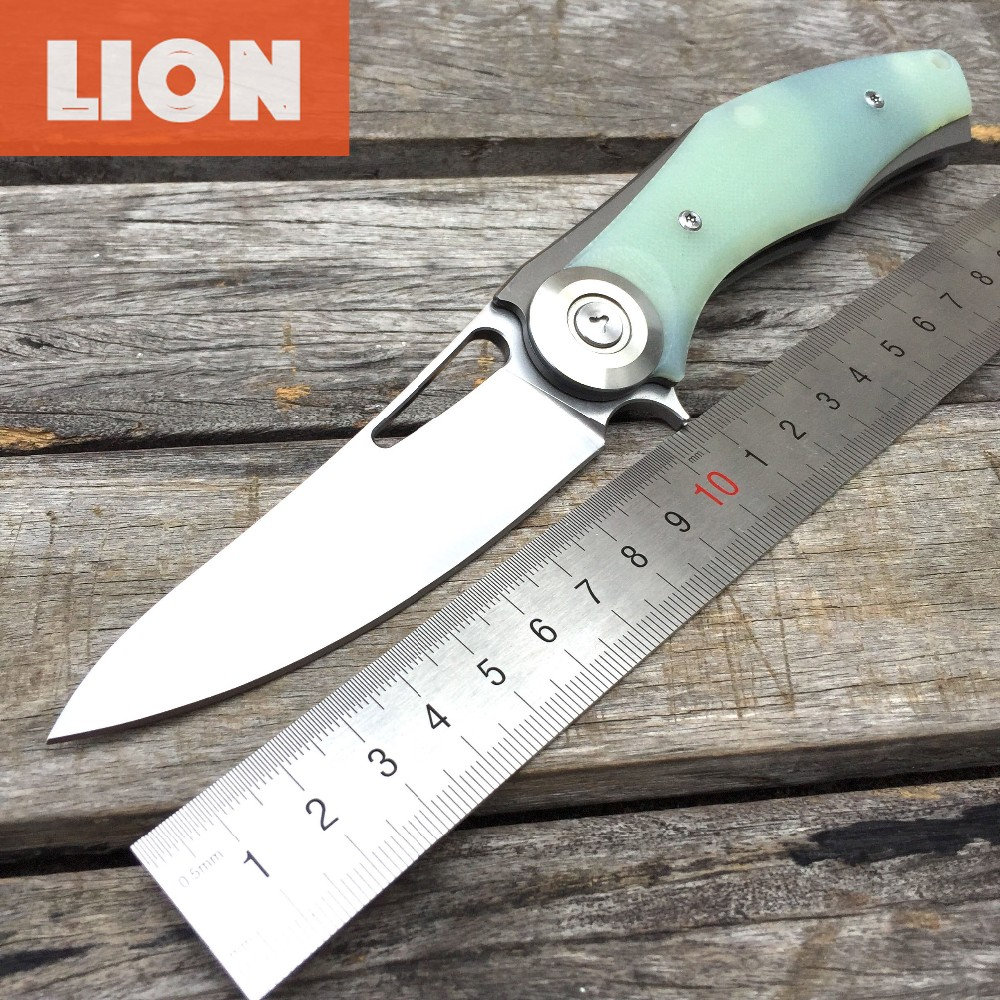 Buy LDT Dark Bear Folding Blade Knives D2 Blade Titanium Plating G10 Handle Camping Knife Hunting Survival Outdoor Pocket Tools OEM cheap