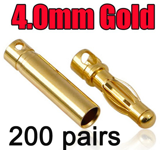 200 pairs 4.0 4 mm banana connector plug Gold Bullet Connector wholesale