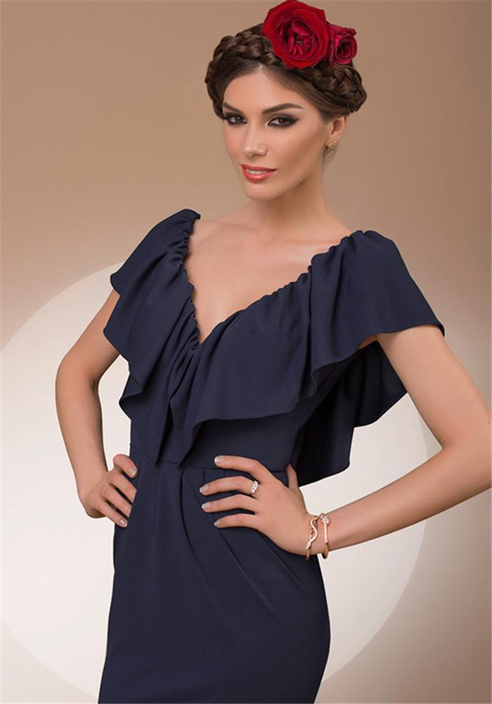 Aliexpress.com : Buy Mermaid Long Evening Dress Navy Blue V Neck ...