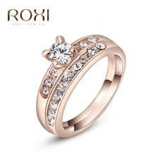 Roxi 18K white/gold Plated double Wedding Rings Clear Zircon Womens Fashion Jewellery Ring(China (Mainland))