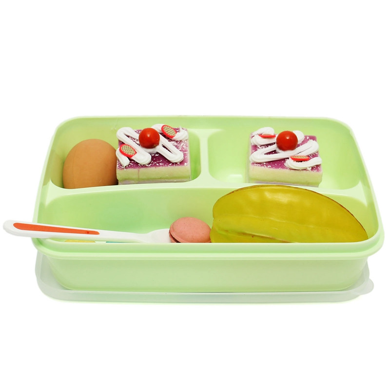 Loverly Portable 3-Separated Microwave Oven Bento Lunch Box Food Storage Containers Box With Spoon For kids School Office(China (Mainland))
