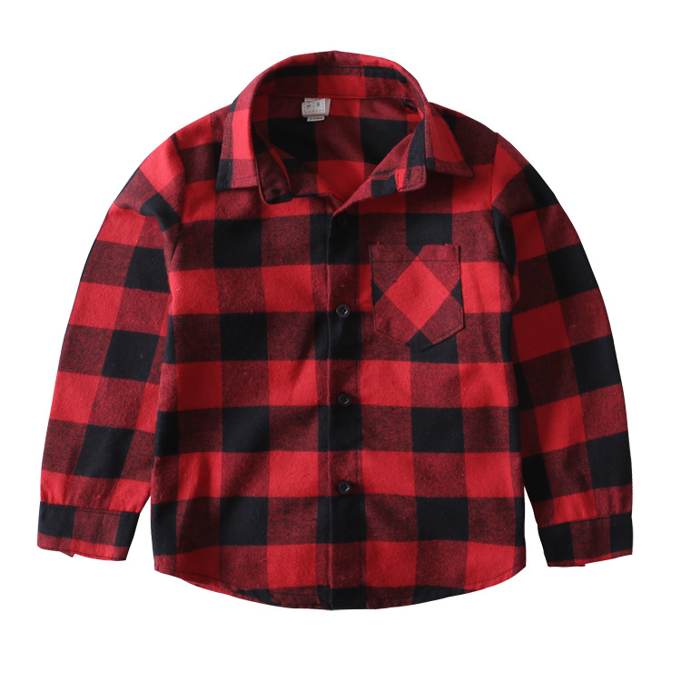Children Red Plaid Shirt  New 2016  Kids Cotton Shirt Boys Autumn Long Sleeve Shirts Girls Blouse Toddler Tops, 2-7Y