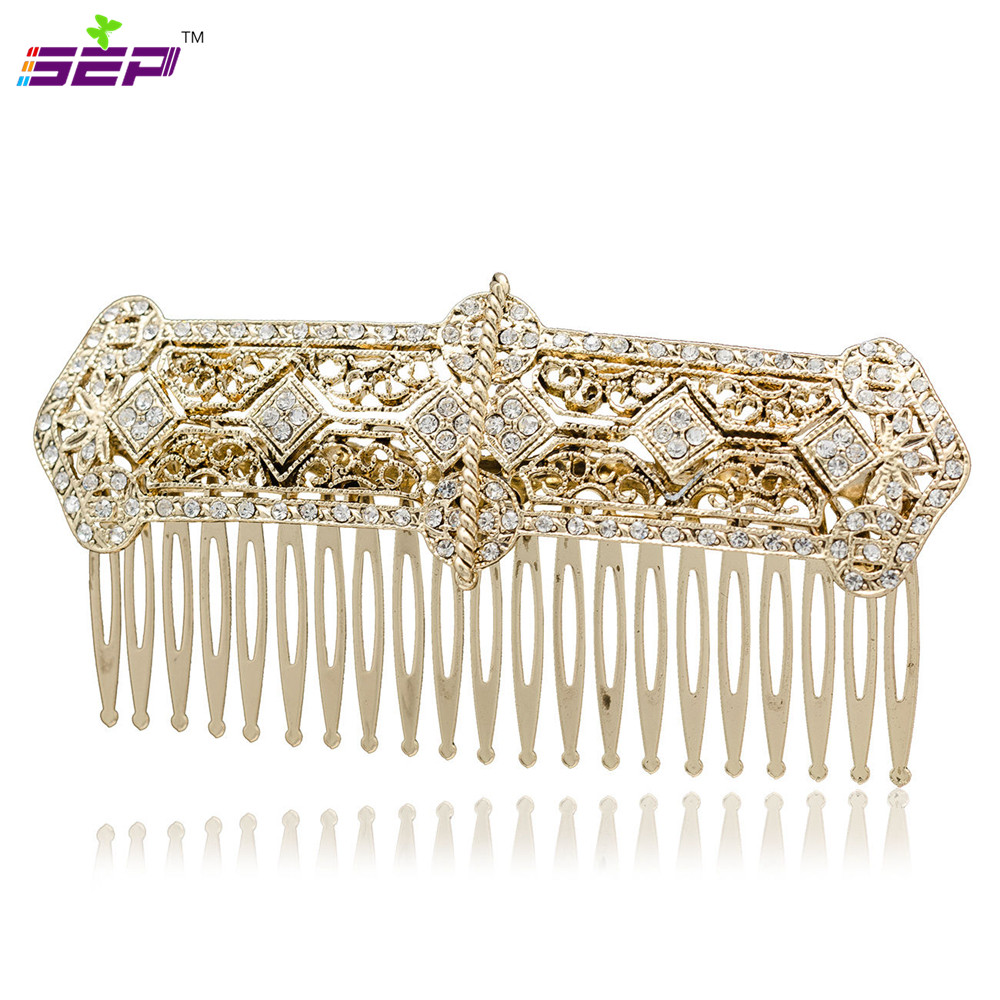 Rhinestone Crystals Palace Hair Comb Tiara Headband Women Party Wedding Bridal Hairpins Accessories Vintage Gold Plated XBY086(China (Mainland))