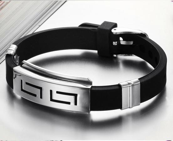 2016 Explosion Fashion Wristband black Punk Rubber Silicone Stainless Steel Men Bracelet Bangles de silicona pulseras hombre(China (Mainland))