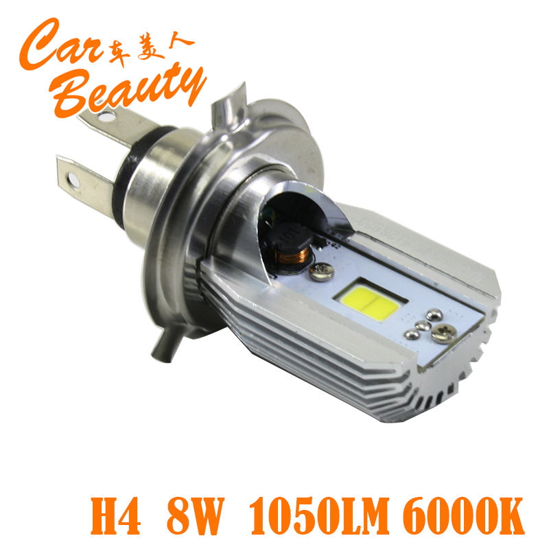2016 New H4 Led Hi/Lo Beam in Car Light Source 8W 1050LM 12V 6000K Motorcycle Headlight Bulbs Moped Scooter Motobike Headlamp(China (Mainland))