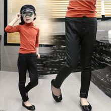 2016 New Fashion Autumn Winter Kids Pants Children Clothing PU Leather Girls Leggings Child Baby Warm Trousers Black(China (Mainland))