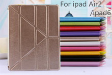 Ultrathin Case For Apple iPad Air2 Transformer Fold Flip Cover For Ipad 6 Transparent Matte Back Cover Smart Sleep Function+film(China (Mainland))