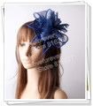 Free shipping Navy sinamay hats feather flower fascinators for party hats bridal hair accessories cocktail hats