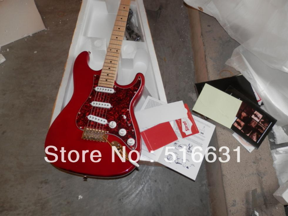 Free shipping New luxurious RED colours Stratocaster six string Electric Guitar, golden hardware wholesale price(China (Mainland))