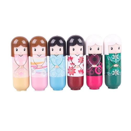 New 6 PCS Doll Lip Balm Lovely Cute Baby Girl Lip Balm Lipstick #44066(China (Mainland))