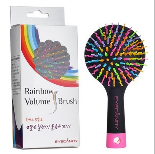 Rainbow Color Magic Hair Comb Paddle Hair Brush Salon Comb Hairbrush Anti Tangle Hair Massage Healthy Brush with Mirror Black(China (Mainland))