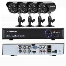 FLOUREON 4ch CCTV System CCTV Kit Outdoor 4 Camera 700TVL IR Camera Security System Home Surveullance System P2P DVR 4 Channel(China (Mainland))