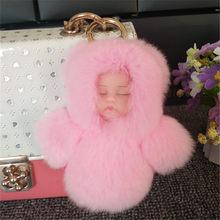 Moda Bonito 13 CM Bebê Dormindo Boneca Chaveiro de Pele de Coelho Rex Fofo Mulher Verdadeira Pele Pom Pom Keychain Car Chaveiro Mulheres Brinquedo presente(China)