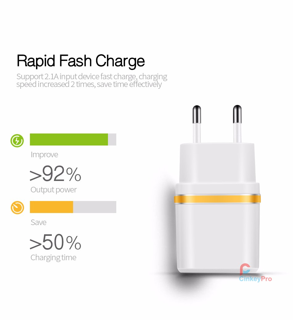 USB Charger For Phone iPhone Samsung Universal 2 Ports Charging Adapter 5V 2A Wall EU Plug Travel Mobile Charge CinkeyPro