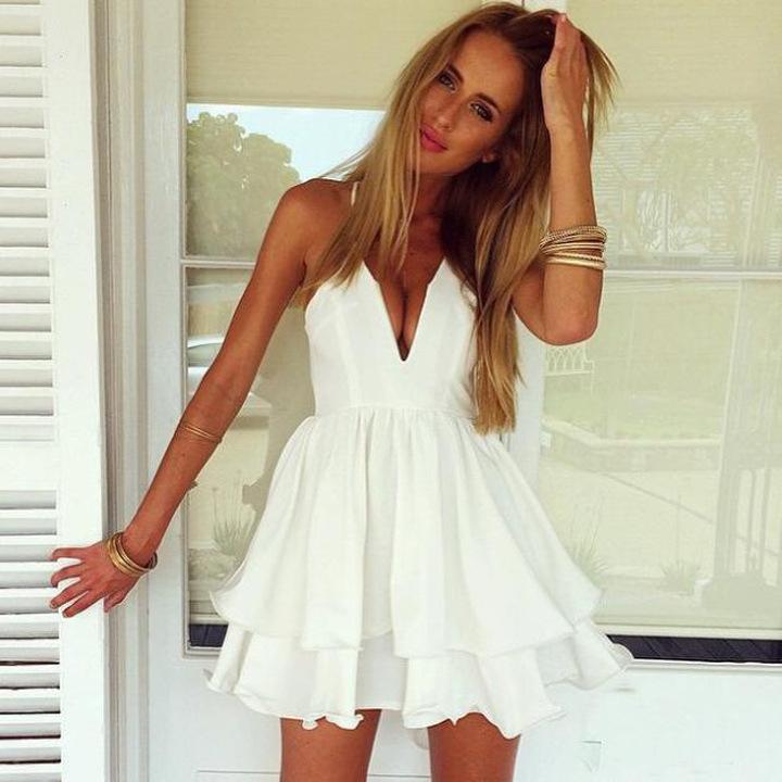 G&L 2015 New Women Fashion Beach Dress Summer Casual Spaghetti Strap Plunging V-neck Ruffles Hem White Chiffon Pleated Dresses(China (Mainland))