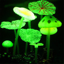 2016 2PCS Real picture Tank Decor aquarium fish artificial silicone vivid lotus leaf mushroom glowing effect Free shipping(China (Mainland))