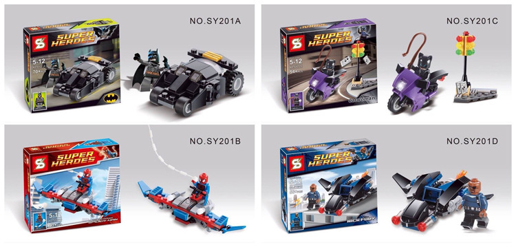 SY201 Super Heroes Alliance Cat Woman/Nick Fury/Spider man/Bat man minifigure Car Chariot building block sets toys - Enjoy it Happy store