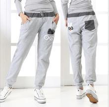 New 2014 Spring Summer big size Sports Pants Loose Casual Pants Cotton Women's Pants Harem Pants 3 color Free Shipping(China (Mainland))