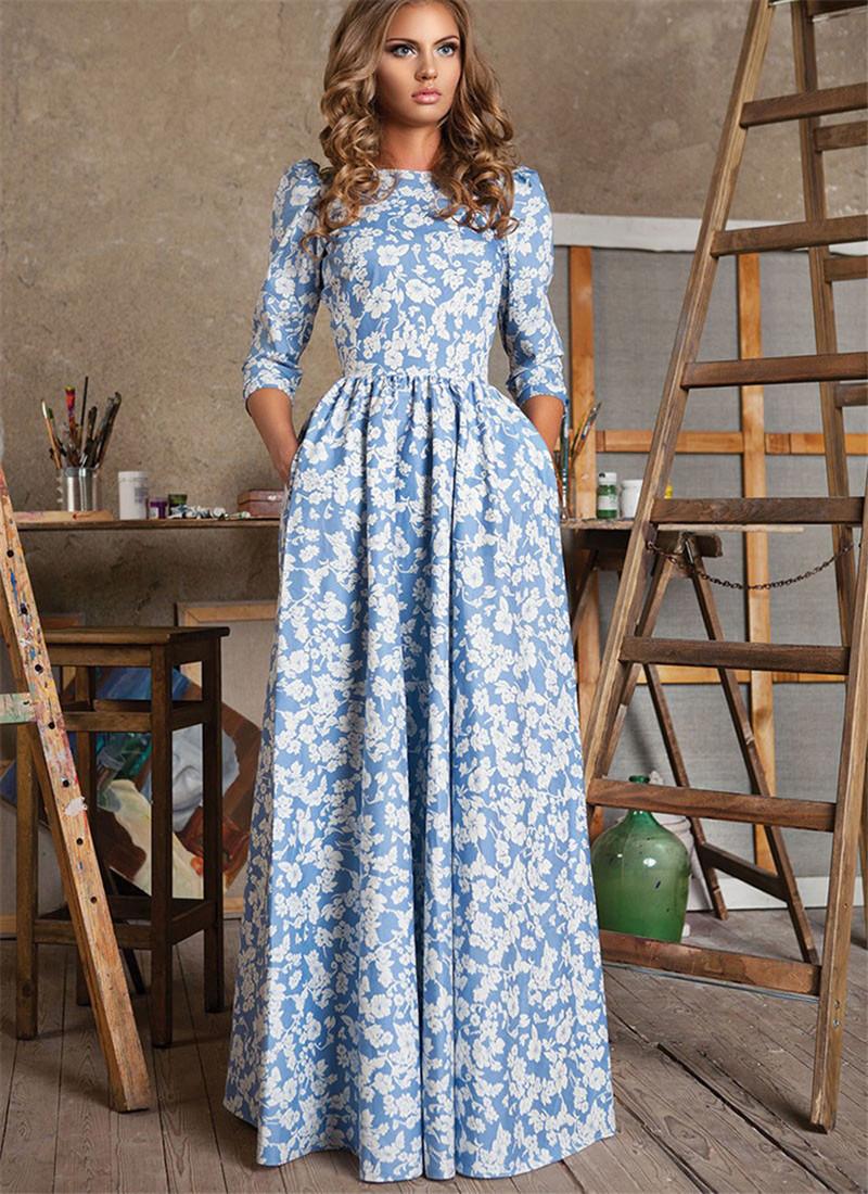 New Fashion 2016 Women Half Sleeve Vintage Cute Dress Summer Boho Maxi Long Dress Ladies Casual Printed Beach Dresses Vestidos(China (Mainland))