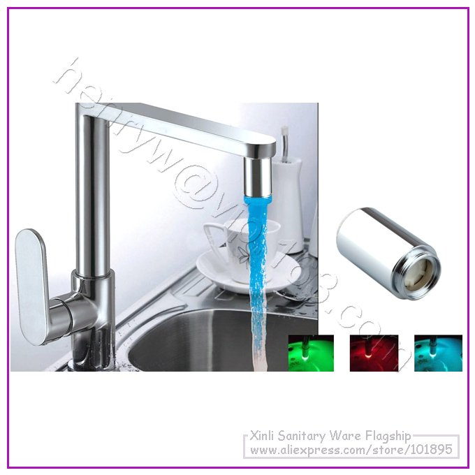 Retail - 3 Color LED Faucet Spout, Color will Change by different Water Temperature,Brass Shell,No Battery, X4102M(China (Mainland))